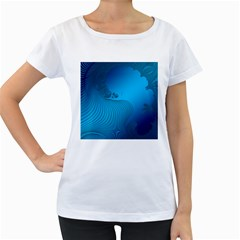 Fractals Lines Wave Pattern Women s Loose Fit T Shirt (white)