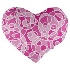Pattern Large 19  Premium Flano Heart Shape Cushions