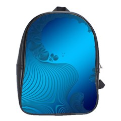Fractals Lines Wave Pattern School Bags (XL)