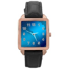 Fractals Lines Wave Pattern Rose Gold Leather Watch