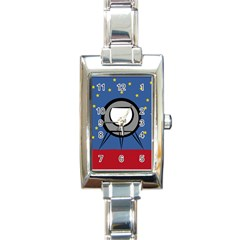 A Rocket Ship Sits On A Red Planet With Gold Stars In The Background Rectangle Italian Charm Watch