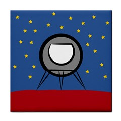 A Rocket Ship Sits On A Red Planet With Gold Stars In The Background Tile Coasters