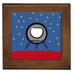 A Rocket Ship Sits On A Red Planet With Gold Stars In The Background Framed Tiles