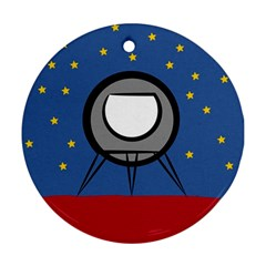 A Rocket Ship Sits On A Red Planet With Gold Stars In The Background Ornament (round)