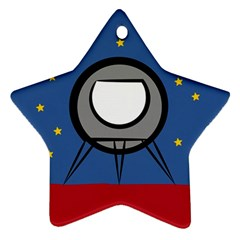 A Rocket Ship Sits On A Red Planet With Gold Stars In The Background Ornament (Star)