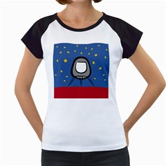 A Rocket Ship Sits On A Red Planet With Gold Stars In The Background Women s Cap Sleeve T