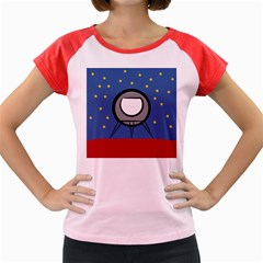 A Rocket Ship Sits On A Red Planet With Gold Stars In The Background Women s Cap Sleeve T-Shirt