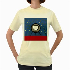 A Rocket Ship Sits On A Red Planet With Gold Stars In The Background Women s Yellow T-Shirt