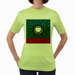 A Rocket Ship Sits On A Red Planet With Gold Stars In The Background Women s Green T Shirt