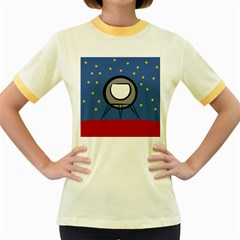 A Rocket Ship Sits On A Red Planet With Gold Stars In The Background Women s Fitted Ringer T Shirts