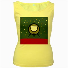A Rocket Ship Sits On A Red Planet With Gold Stars In The Background Women s Yellow Tank Top