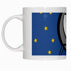 A Rocket Ship Sits On A Red Planet With Gold Stars In The Background White Mugs