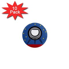 A Rocket Ship Sits On A Red Planet With Gold Stars In The Background 1  Mini Magnet (10 pack)