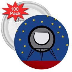 A Rocket Ship Sits On A Red Planet With Gold Stars In The Background 3  Buttons (100 Pack)