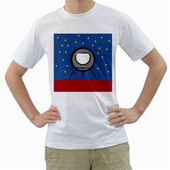 A Rocket Ship Sits On A Red Planet With Gold Stars In The Background Men s T Shirt (white) (two Sided)