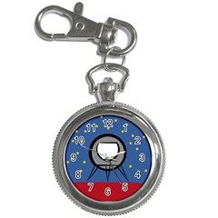 A Rocket Ship Sits On A Red Planet With Gold Stars In The Background Key Chain Watches