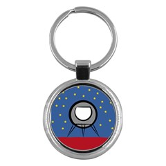 A Rocket Ship Sits On A Red Planet With Gold Stars In The Background Key Chains (Round)