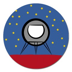 A Rocket Ship Sits On A Red Planet With Gold Stars In The Background Magnet 5  (Round)