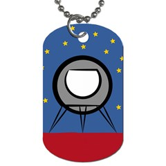 A Rocket Ship Sits On A Red Planet With Gold Stars In The Background Dog Tag (One Side)