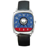 A Rocket Ship Sits On A Red Planet With Gold Stars In The Background Square Metal Watch Front