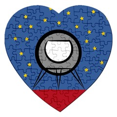 A Rocket Ship Sits On A Red Planet With Gold Stars In The Background Jigsaw Puzzle (heart)