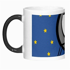 A Rocket Ship Sits On A Red Planet With Gold Stars In The Background Morph Mugs