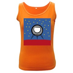A Rocket Ship Sits On A Red Planet With Gold Stars In The Background Women s Dark Tank Top