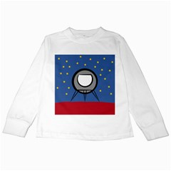 A Rocket Ship Sits On A Red Planet With Gold Stars In The Background Kids Long Sleeve T Shirts