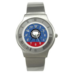 A Rocket Ship Sits On A Red Planet With Gold Stars In The Background Stainless Steel Watch