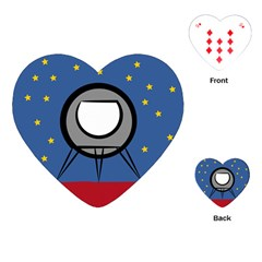 A Rocket Ship Sits On A Red Planet With Gold Stars In The Background Playing Cards (Heart)