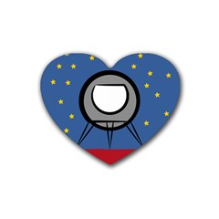 A Rocket Ship Sits On A Red Planet With Gold Stars In The Background Heart Coaster (4 Pack)
