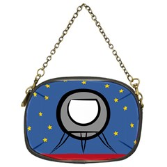 A Rocket Ship Sits On A Red Planet With Gold Stars In The Background Chain Purses (one Side)