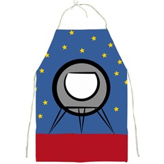 A Rocket Ship Sits On A Red Planet With Gold Stars In The Background Full Print Aprons