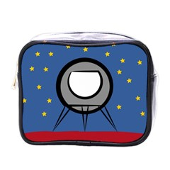 A Rocket Ship Sits On A Red Planet With Gold Stars In The Background Mini Toiletries Bags