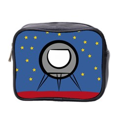 A Rocket Ship Sits On A Red Planet With Gold Stars In The Background Mini Toiletries Bag 2-Side