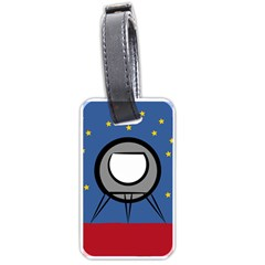 A Rocket Ship Sits On A Red Planet With Gold Stars In The Background Luggage Tags (two Sides)