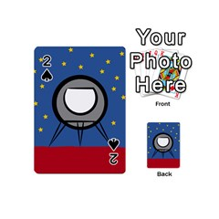 A Rocket Ship Sits On A Red Planet With Gold Stars In The Background Playing Cards 54 (Mini)
