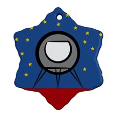 A Rocket Ship Sits On A Red Planet With Gold Stars In The Background Snowflake Ornament (two Sides)