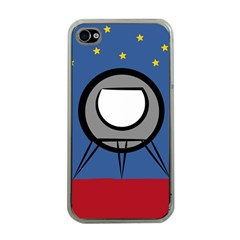 A Rocket Ship Sits On A Red Planet With Gold Stars In The Background Apple iPhone 4 Case (Clear)