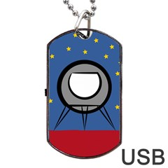 A Rocket Ship Sits On A Red Planet With Gold Stars In The Background Dog Tag USB Flash (One Side)