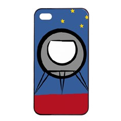 A Rocket Ship Sits On A Red Planet With Gold Stars In The Background Apple Iphone 4/4s Seamless Case (black)