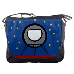 A Rocket Ship Sits On A Red Planet With Gold Stars In The Background Messenger Bags