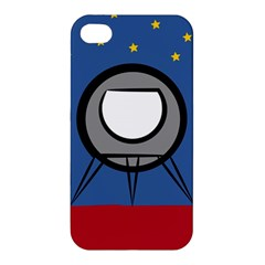 A Rocket Ship Sits On A Red Planet With Gold Stars In The Background Apple iPhone 4/4S Premium Hardshell Case