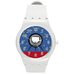 A Rocket Ship Sits On A Red Planet With Gold Stars In The Background Round Plastic Sport Watch (M)