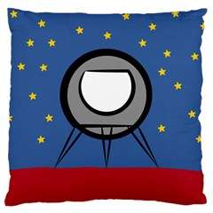 A Rocket Ship Sits On A Red Planet With Gold Stars In The Background Large Cushion Case (One Side)