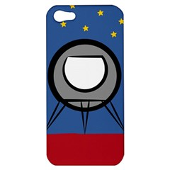A Rocket Ship Sits On A Red Planet With Gold Stars In The Background Apple iPhone 5 Hardshell Case