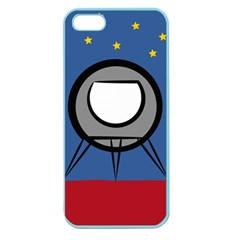 A Rocket Ship Sits On A Red Planet With Gold Stars In The Background Apple Seamless iPhone 5 Case (Color)