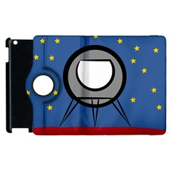 A Rocket Ship Sits On A Red Planet With Gold Stars In The Background Apple iPad 2 Flip 360 Case