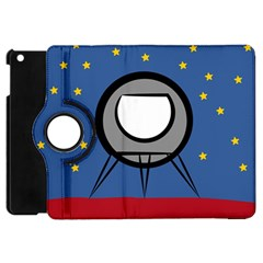 A Rocket Ship Sits On A Red Planet With Gold Stars In The Background Apple iPad Mini Flip 360 Case