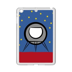 A Rocket Ship Sits On A Red Planet With Gold Stars In The Background iPad Mini 2 Enamel Coated Cases